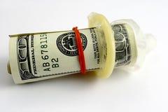 Manojo de cientos cuentas de dólar Foto de archivo libre de regalías