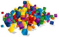Manojo de cubos coloreados Imagenes de archivo