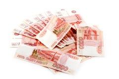 Manojo de dinero ruso Foto de archivo libre de regalías