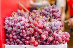 Manojo de exhibición cruda de la uva en el mercado fresco Foto de archivo