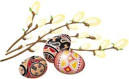 Manojo de gatito-sauce y de huevos de Pascua hermosos Imagen de archivo