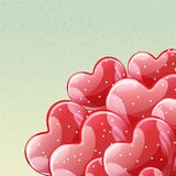 Manojo de globos brillantes rojos del helio Imágenes de archivo libres de regalías