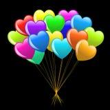 Manojo de globos coloridos del corazón de la historieta Foto de archivo libre de regalías