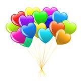 Manojo de globos coloridos del corazón de la historieta Foto de archivo