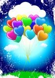 Manojo de globos coloridos del corazón de la historieta Fotografía de archivo
