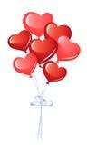 Manojo de globos del corazón Foto de archivo