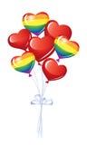 Manojo de globos del corazón Fotografía de archivo