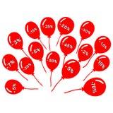 Manojo de globos rojos con las etiquetas del descuento Fotos de archivo libres de regalías