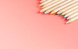 Manojo de lápices del color en rosa Imagenes de archivo