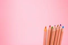 Manojo de lápices del color en rosa Fotografía de archivo