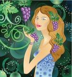 Manojo de la explotación agrícola de la mujer de uvas Imagen de archivo