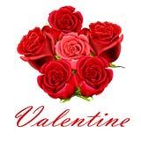 Manojo de la tarjeta del día de San Valentín de rosas Foto de archivo libre de regalías