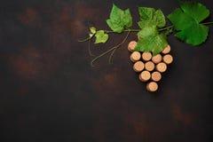 Manojo de la uva de corcho con las hojas en fondo oxidado imagen de archivo