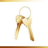 Manojo de llaves de oro Foto de archivo libre de regalías