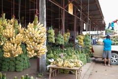 Manojo de plátanos maduros en mercado fotos de archivo