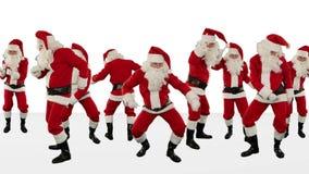 Manojo de Santa Claus Dancing Against White, fondo del día de fiesta de la Navidad, cantidad común almacen de metraje de vídeo