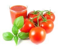 Manojo de tomates frescos con las hojas de la albahaca y el vidrio de jugo de tomate Foto de archivo libre de regalías
