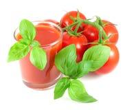 Manojo de tomates maduros con las hojas de la albahaca y el vidrio de jugo de tomate Imagen de archivo libre de regalías