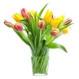 Manojo de tulipanes rojos y amarillos Imagenes de archivo