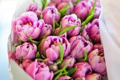 Manojo de tulipanes rosados en fondo de madera Fotografía de archivo