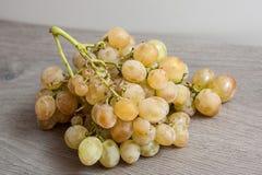 Manojo de uva blanca en el fondo de madera Foto de archivo