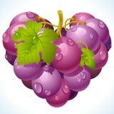 Manojo de uvas en la dimensión de una variable del corazón stock de ilustración