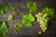 Manojo de uvas verdes con las hojas en el fondo de madera Fotos de archivo libres de regalías