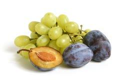 Manojo de uvas y de ciruelos Foto de archivo libre de regalías