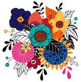 Manojo del contraste de flores en color Imagenes de archivo