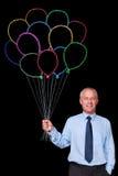 Manojo del hombre de negocios de globos de la tiza Imagenes de archivo