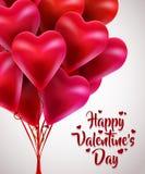 Manojo del vuelo de corazones rojos del globo Día de tarjetas del día de San Valentín feliz Imágenes de archivo libres de regalías