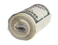 Manojo doblado de cientos billetes de dólar americanos aislados en wh Foto de archivo