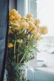 Manojo fresco de flores color de rosa del verano amarillo en el florero de cristal en un fondo blanco del alféizar Decoración rús Foto de archivo