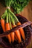 Manojo fresco de las zanahorias en la cesta fotos de archivo libres de regalías