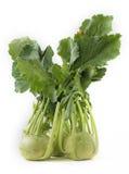 Manojo fresco de verdura orgánica del colinabo en blanco Foto de archivo