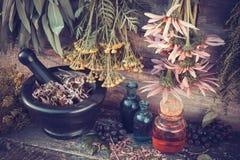 Manojos de las hierbas curativas, mortero y botellas de aceite Fotos de archivo libres de regalías