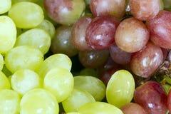 Manojos de uvas verdes y rojas grandes junto Imagen de archivo