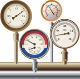 Manometer. Group of devices of a various kind for pressure measurement Stock Photography