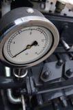 Manometer. On boring mashine. Closeup view Royalty Free Stock Images
