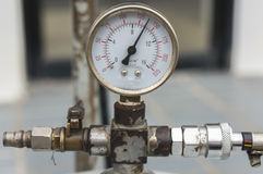 Manometer for car tire air compressor pressure gauge.  Royalty Free Stock Photography