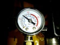 Manometer closeup showing air pressure in compressor stock image