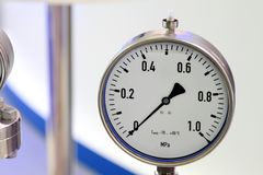 Manometer - a device for measuring the pressure of fluid in the pipeline royalty free stock photo