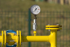Manometer on gas pipe Royalty Free Stock Photo