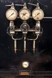 Manometer of old compressor stock images