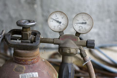 Manometer and oxygen tube Stock Photography