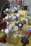 Manometer panel in nuclear  laboratory Stock Photos