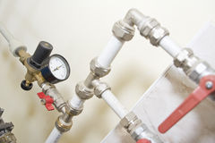 Manometer, pipes and armature Royalty Free Stock Photos