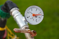 Manometer on pipes Royalty Free Stock Images