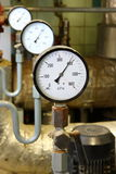 Manometer pressure. Gas line with valve Royalty Free Stock Photos