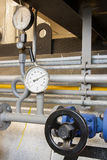 Manometer pressure gas line with valve Royalty Free Stock Photo